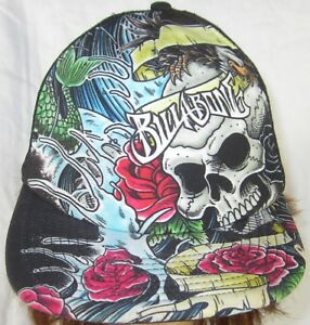 Billabong Skull and Roses Trucker Hat Ball Cap Padded Foam Front ... 93199906b3fd