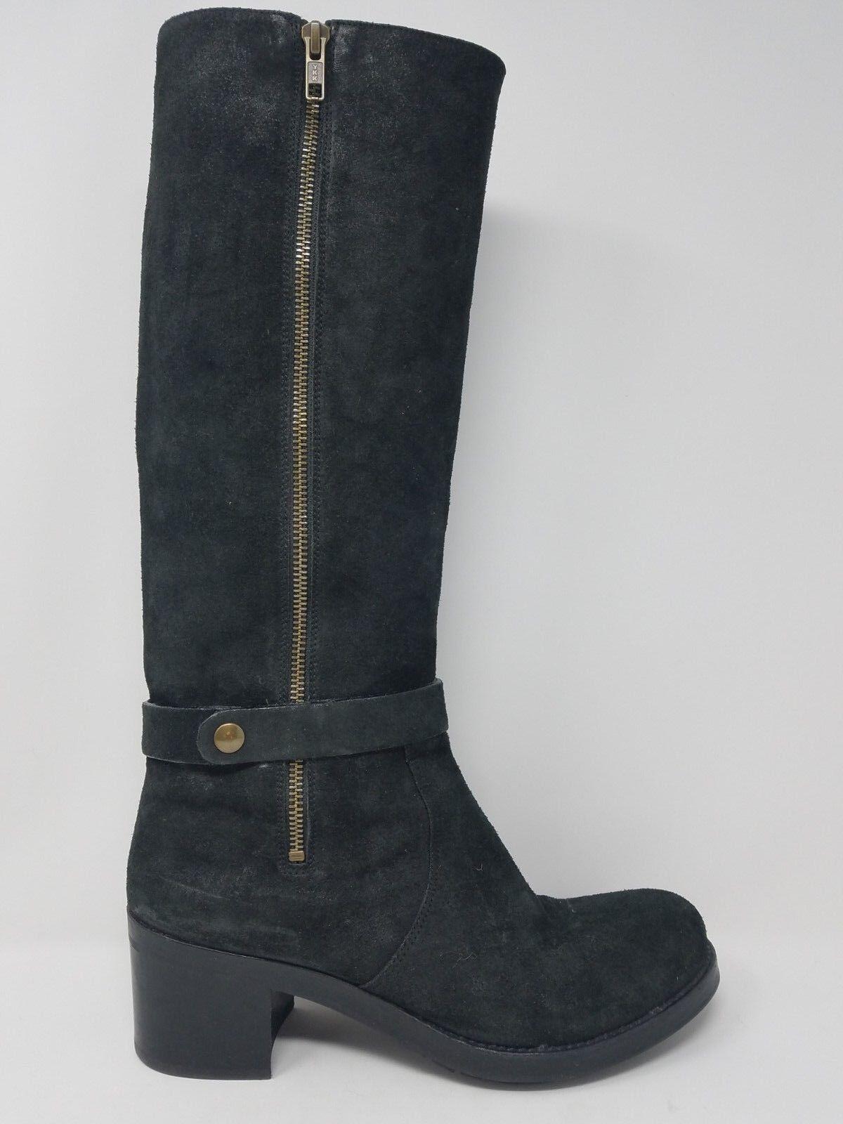 Roberto Del Carlo Womens Knee Boot Size 10 US 40 EU Black Leather Harness Zip Up