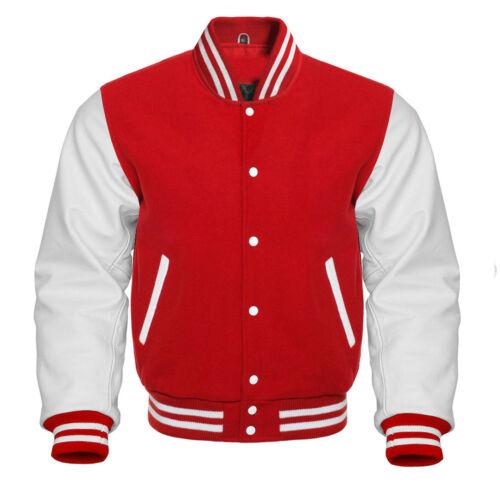 en roja Varsity de genuinas y cuero Baseball blancas lana Letterman Jacket mangas XF7wtF