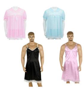 Sissy Men Lace Puff Sleeves Romper Crossdress Thong Underwear Nightwear Lingerie