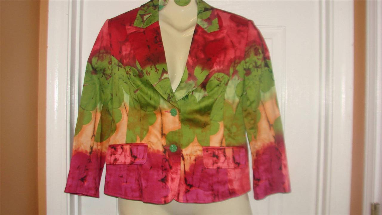WD Platinum tye dye abstract Green Red Pink Short Stretch Cotton Blazer Ladies 6