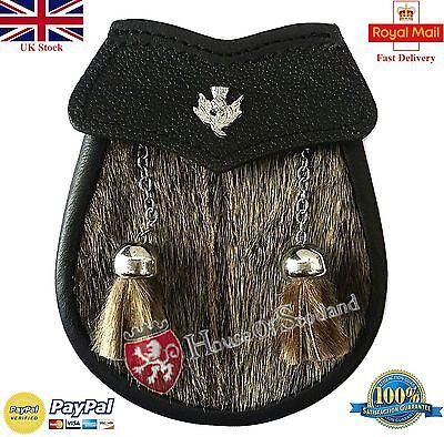 Scozzese pelle marrone Borsa scozzese in pelo e cintura 3 Nappe pelle SPORRAN