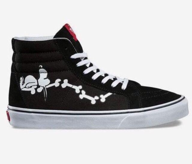f4bb701822 Vans SK8 Hi Reissue Peanuts Snoopy Bones Black Skate Men s SZ 9.5 WMS 11.0  NEW