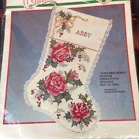Cross Stitch Stocking Kit Bucilla Christmas Roses Chic Mistletoe Shabby Lace