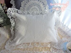 Vintage-Battenburg-Lace-Pillow-Cover-Cushion-Case-Baby-Pillow-White-Victorian