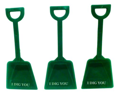 """Mfg USA Lead Free* 48 /""""I Dig You/"""" Stickers  48 Green Toy Plastic Sand Shovels"""