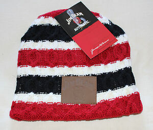 Jim Beam Mens White Black Red Stripe Cable Knit Acrylic Beanie One ... 74e6953e0c78