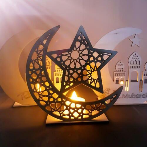Wooden Eid Mubarak Ramadan Ornament Muslim Islamic Gift DIY Home Party Decor