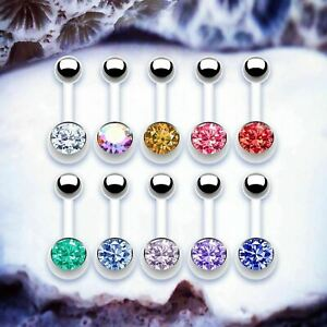 BASIC Bioflex Belly Bar Simple 14G Navel Piercing Crystal Belly Button Bars Ring