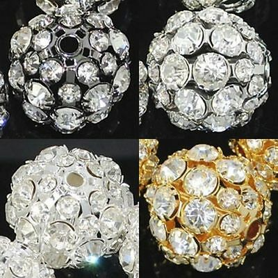 6MM-20MM Pave Crystal Rhinestone Hollow Round Ball Charm Spacer Beads