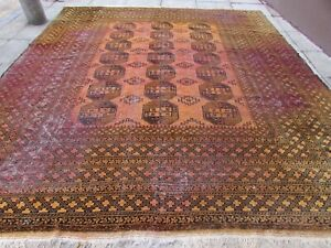 Shabby-Chic-Old-Hand-Made-Traditional-Afghan-Wool-Golden-Gold-Carpet-370x320cm