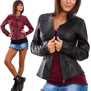 Giacca-donna-ecopelle-pelle-cerniera-zip-avvitata-giacchetto-giubbino-VB-0213
