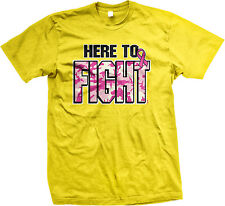 Here To Fight Pink Camo Ribbon Breast Cancer Survivor Awareness Mens T-shirt