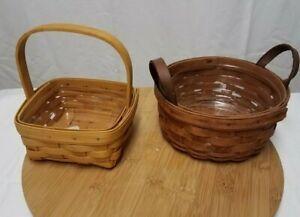 2-Longaberger-Baskets-2001-Round-and-1989-Small-Basket