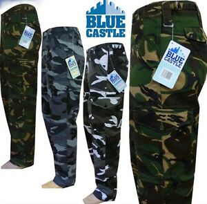 "Mens Blue Castle Combat Workwear Work Cargo Army Trousers Pants Combats 29/"" 32/"""