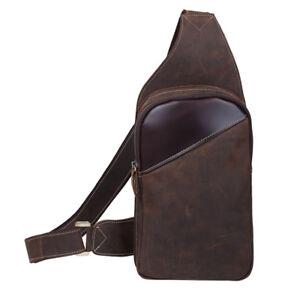 Men-039-s-Vintage-Genuine-Leather-Shoulder-Bag-Sling-Bag-Chest-Backpack-Single-Strap