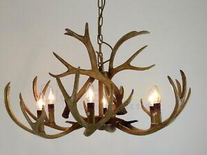 Lampadario Rustico Sospensione : Sospensione lampadario corna di cervo resina classico rustico