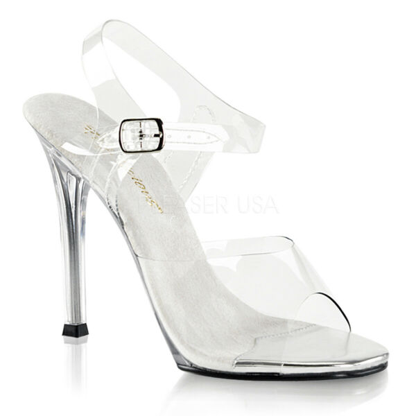 629c94601a60 Fabulicious Gala-08 Clear Lucite Ankle Strap Sandal Open Toe Stiletto High  HEELS 6 for sale online