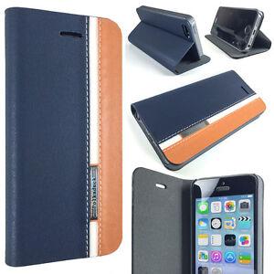 Blue-Brown-Designer-Apple-iPhone-SE-5-5S-Slim-Folio-Wallet-Protector-Case-Cover