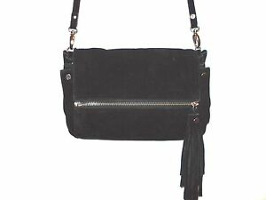 94126503f7 ZARA Suede PURSE With FRINGE Black LONG STRAP With Silver ZIPPER ...