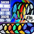5M 3528 5050 5630 RGB SMD LED Flexible Strip Light Lamp 150/300/600 LED Remote
