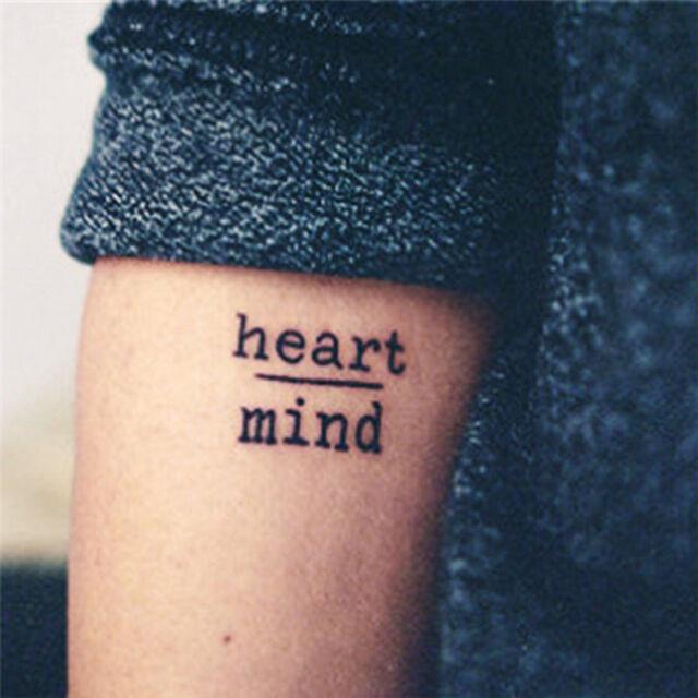 Waterproof Temporary Tattoo Stickers Heart Mind Letters Tattoo Fake Tattoo FR