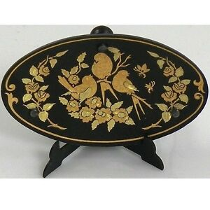 Damascene-Gold-Oval-Bird-Miniature-Decorative-Plate-by-Midas-of-Toledo-Spain