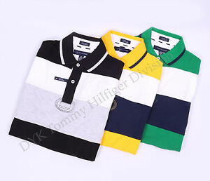 Tommy-Hilfiger-Men-Double-Stripe-Crest-Polo-Shirt-Short-Sleeve-Free-0-Shipping