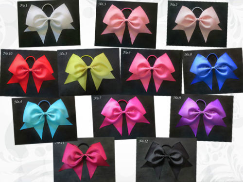 12 BLESSING Happy Girl Boutique Hair Accessories 7 Inch Cheer Leader Bow Elastic