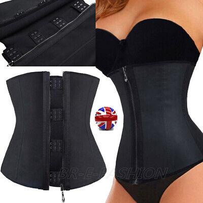 UK Long Torso Zipper Latex Rubber Waist Trainer Weight Loss Cincher Slim Corset