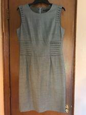 ANTONIO MELANI Gray Wool Blend Sheath Dress Shutter Pleating Career Size 8