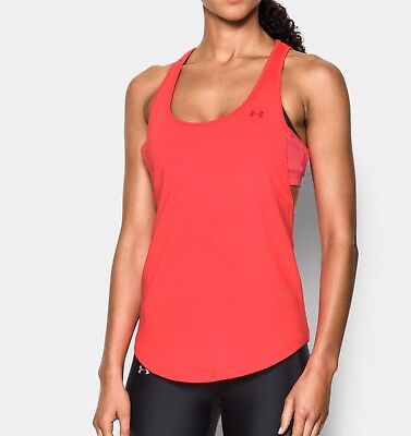 S 10 - Bright Red Under Armour Women/'s UA Flashy Faux 2 in 1 Tank Top