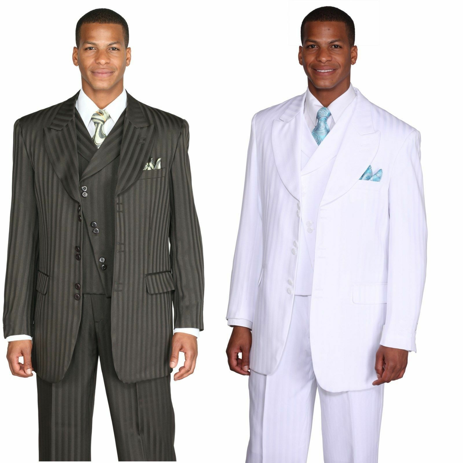 Men's 3 Piece Fashion Tone on Tone Stripe Suits with Cutaway Vest 29197V
