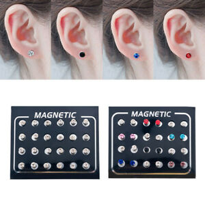 12Pair-Non-Piercing-Clip-on-Magnetic-Magnet-Ear-Stud-Mens-Womens-Fake-Earrings