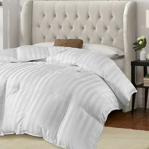Beautiful Cozy Down Alt Oversize Warm Soft Stripe White
