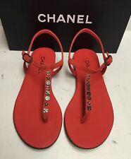 Chanel Classic CC Logo Suede T-Strap Thong Sandals Flats Shoes 40.5