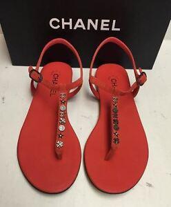 7df49a689e7e NEW Chanel Classic CC Logo Suede T-Strap Thong Sandals Flats Shoes ...