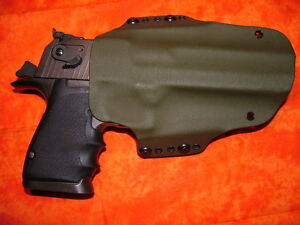 LEFT HOLSTER OD GREEN FITS DESERT EAGLE 357 44 MAG 50 (WITH LOWER RAIL)