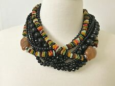 Spectacular Angela Caputi Black, Multi Color Resin Bead & Rhinestone Necklace