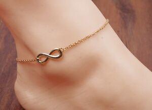 "10/"" Women Girl Silver Rose Gold Infinity 8 Cross Chain Ankle Bracelet Anklet AF"