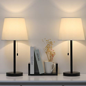Details about Modern Table Lamp Set of 2, Bedside Lamps for Bedroom, Living  Room, Nightstand,