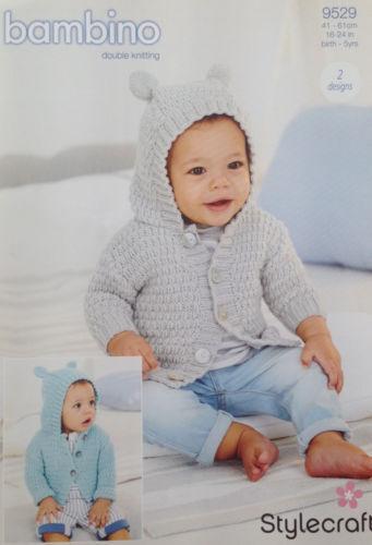 Childrens Hoodies Stylecraft 9529 Knitting Pattern Bambino DK