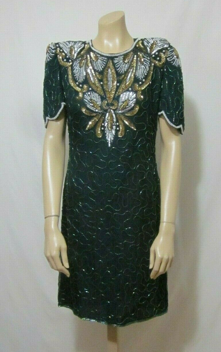New Vtg 80s Gold Grün Beaded Sequin Party Dress By Denise Elle 100% Silk Sz L