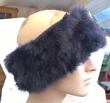 navy blue real genuine rabbit fur pelt ear warmer unisex hat winter ski outdoor