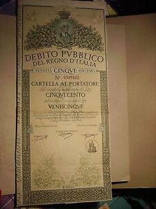 DEBITO PUBBLICO DEL REGNO D'ITALIA CARTELLA AL PORTATORE DA LIRE CINQUECENTO - Italia - DEBITO PUBBLICO DEL REGNO D'ITALIA CARTELLA AL PORTATORE DA LIRE CINQUECENTO - Italia