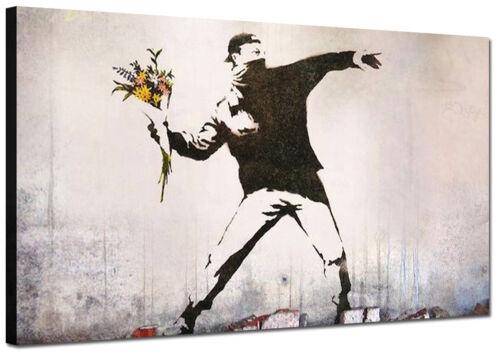 Quadri Moderni cm 120x70 Quadro Moderno Stampa su tela Banksy Arte Casa Graffiti