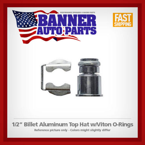 "Fuel Injector Billet Aluminum 1//2/"" Top Hat Adapter w// 14mm O-Ring /& Clip USA"