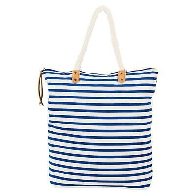 BLACK STRIPED BEACH TOTE BAG PURSE WITH FLOWER LINED FULL ZIPPER CLOSURE INDIANA