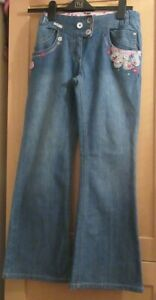 Next Ninas Edad 12 Anos Flor Azul Denim Pantalones Vaqueros De La Llamarada Ebay
