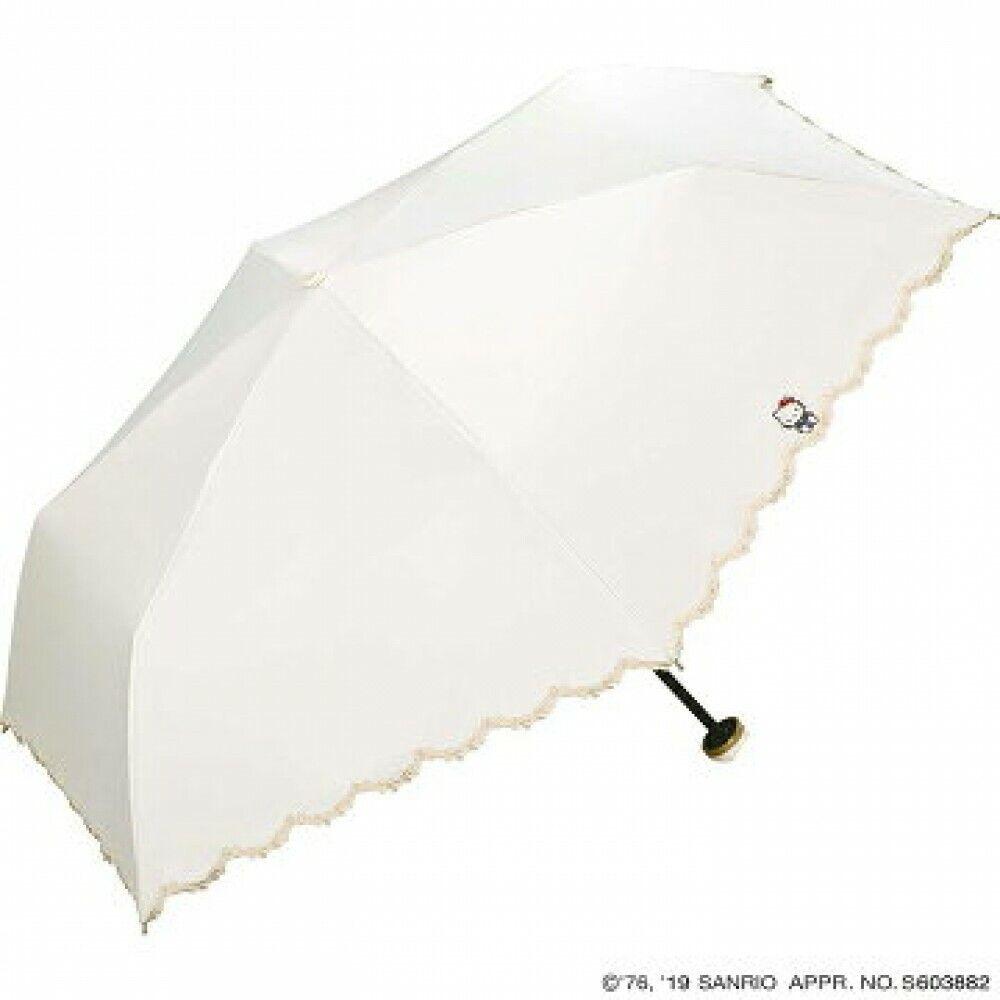 [White] Hello Kitty Ribbon Embroidery Folding Umbrella Wpc Sanrio UV Cut JAPAN